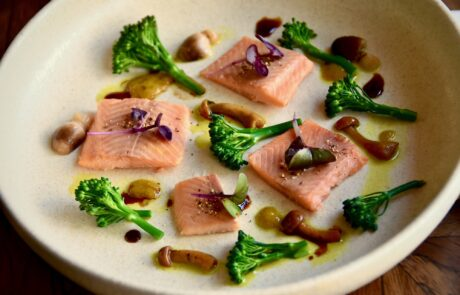 Smoked eel with orange glazed fennel and broccoli