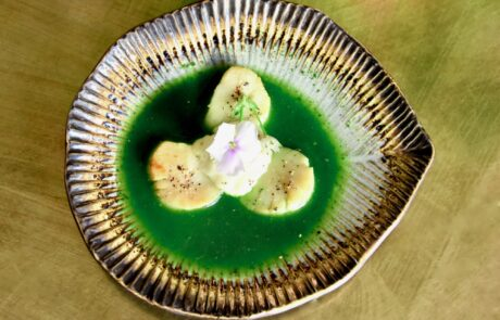 Scallops in nettle broth with horseradish lemon cream