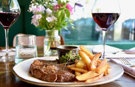 Ribeye steak and chips