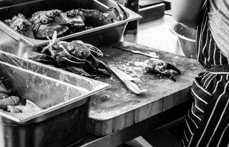 Food prep at Bertie Blossoms